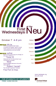 "Flier for the first ""First Wednesdays"" at the Nueberger Museum of Art. Located on the SUNY Purchase college campus."